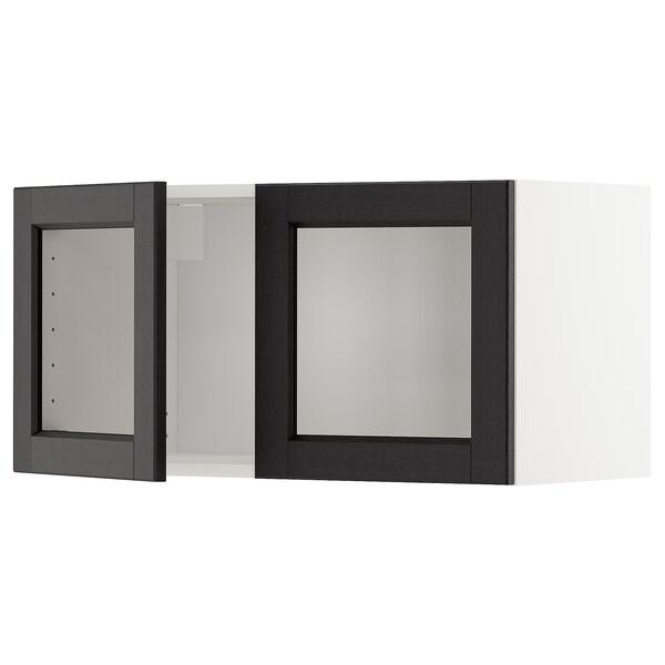 METOD Vægskab med 2 vitrinelåger, hvid/Lerhyttan sort bejdse, 80x40 cm