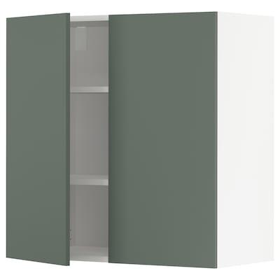 METOD Vægskab med hylder/2 låger, hvid/Bodarp grågrøn, 80x80 cm