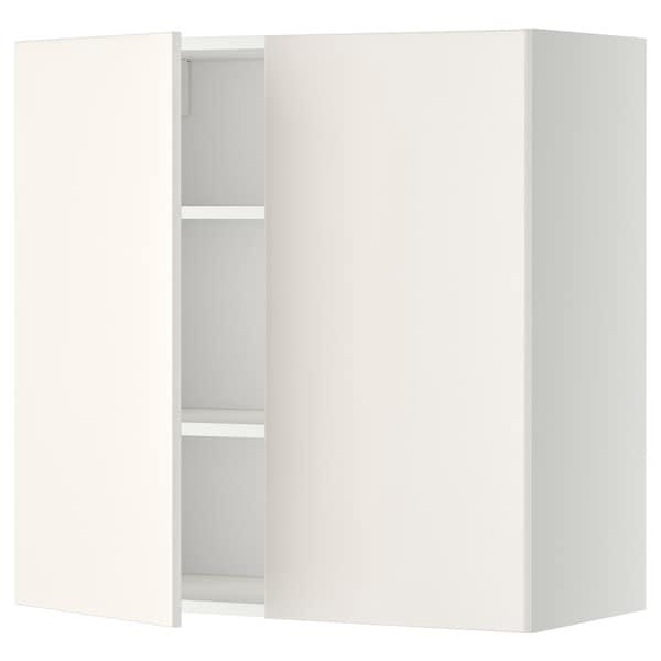 METOD Vægskab med hylder/2 låger, hvid/Veddinge hvid, 80x80 cm