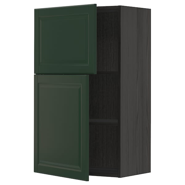 METOD Vægskab med hylder/2 låger, sort/Bodbyn mørkegrøn, 60x100 cm