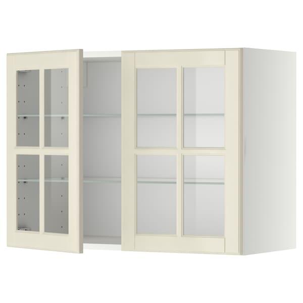 METOD Vægskab med hylder/2 vitrinlåger, hvid/Bodbyn råhvid, 80x60 cm