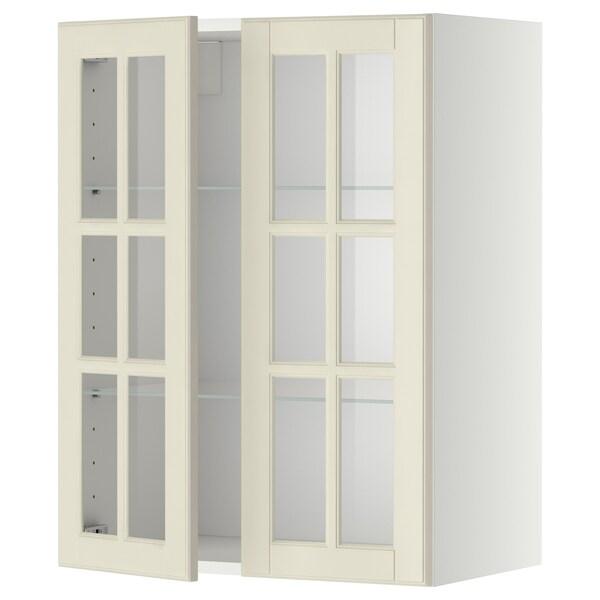 METOD Vægskab med hylder/2 vitrinlåger, hvid/Bodbyn råhvid, 60x80 cm