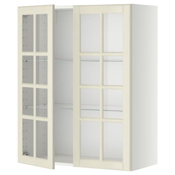 METOD Vægskab med hylder/2 vitrinlåger, hvid/Bodbyn råhvid, 80x100 cm