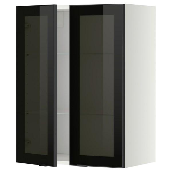 METOD Vægskab med hylder/2 vitrinlåger, hvid/Jutis røgfarvet glas, 60x80 cm