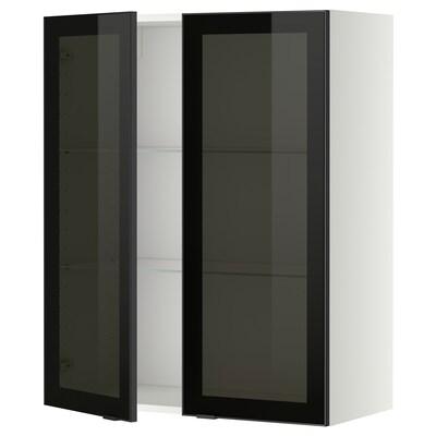 METOD Vægskab med hylder/2 vitrinlåger, hvid/Jutis røgfarvet glas, 80x100 cm