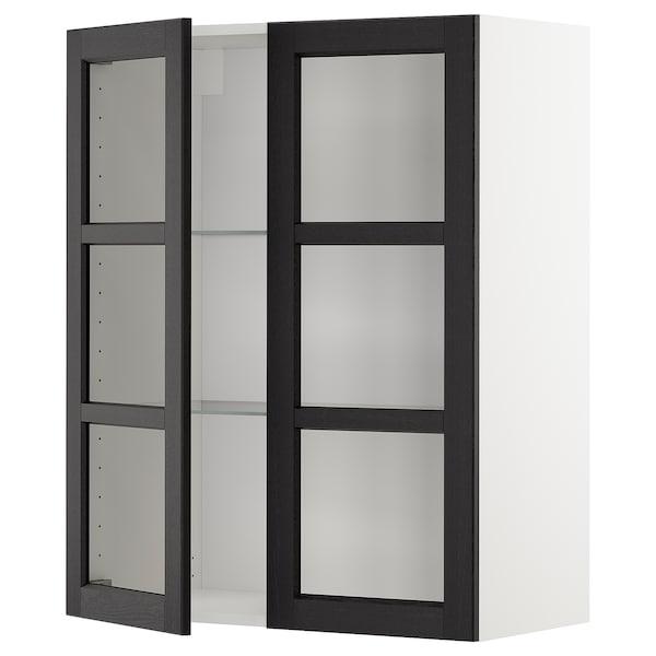 METOD Vægskab med hylder/2 vitrinlåger, hvid/Lerhyttan sort bejdse, 80x100 cm