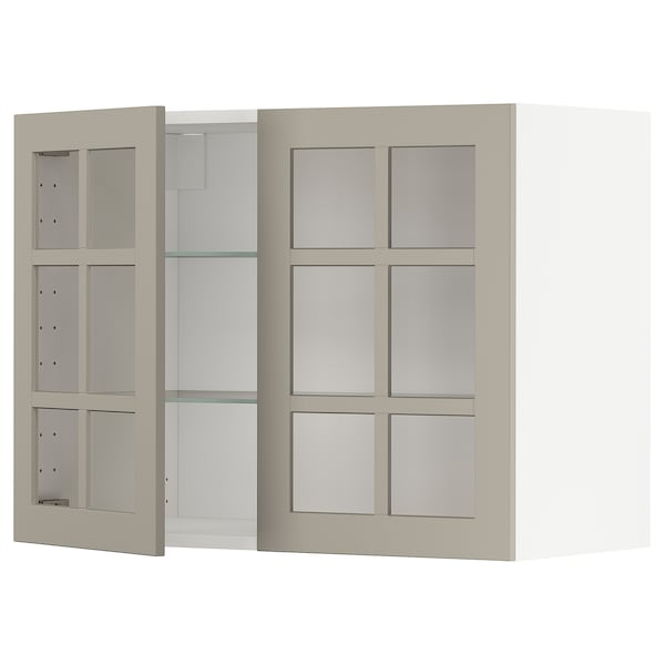 METOD Vægskab med hylder/2 vitrinlåger, hvid/Stensund beige, 80x60 cm