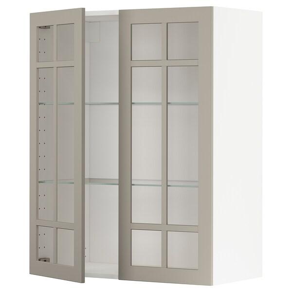 METOD Vægskab med hylder/2 vitrinlåger, hvid/Stensund beige, 80x100 cm
