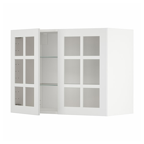 METOD Vægskab med hylder/2 vitrinlåger, hvid/Stensund hvid, 80x60 cm