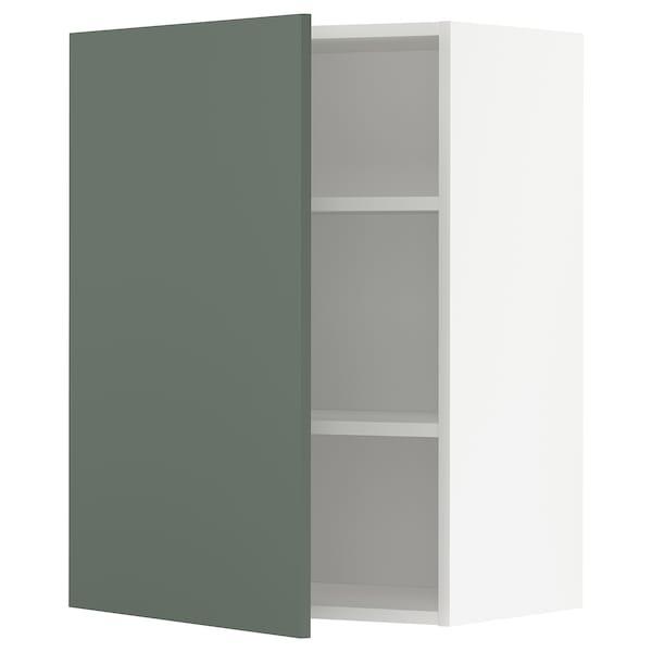 METOD Vægskab med hylder, hvid/Bodarp grågrøn, 60x80 cm