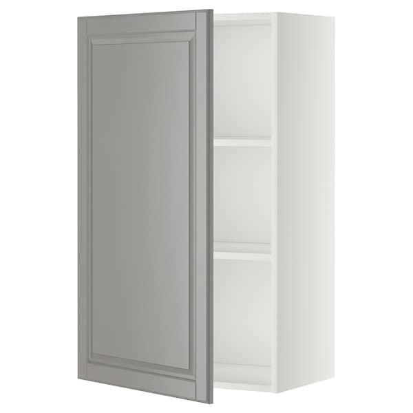 METOD Vægskab med hylder, hvid/Bodbyn grå, 60x100 cm
