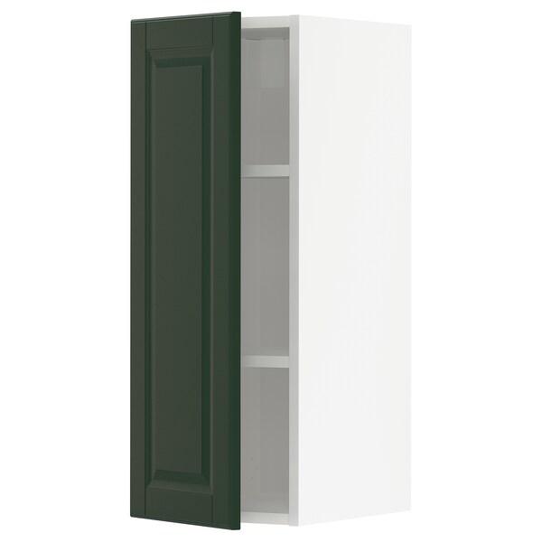 METOD Vægskab med hylder, hvid/Bodbyn mørkegrøn, 30x80 cm