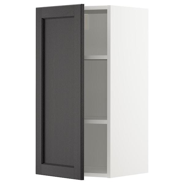 METOD Vægskab med hylder, hvid/Lerhyttan sort bejdse, 40x80 cm