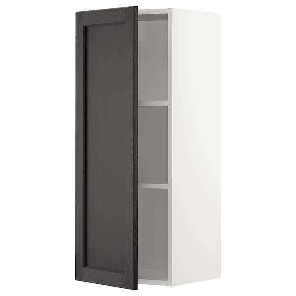METOD Vægskab med hylder, hvid/Lerhyttan sort bejdse, 40x100 cm