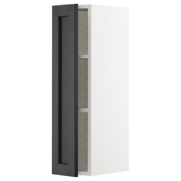 METOD Vægskab med hylder, hvid/Lerhyttan sort bejdse, 20x80 cm