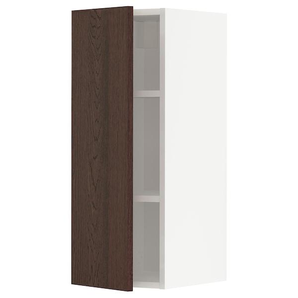 METOD Vægskab med hylder, hvid/Sinarp brun, 30x80 cm