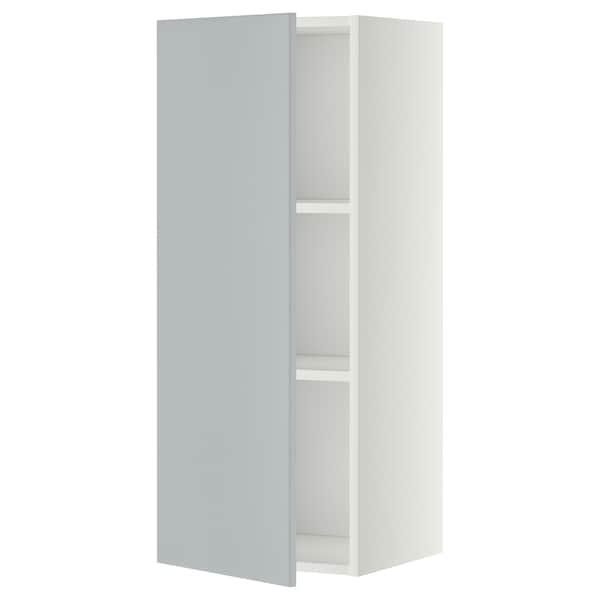 METOD Vægskab med hylder, hvid/Veddinge grå, 40x100 cm