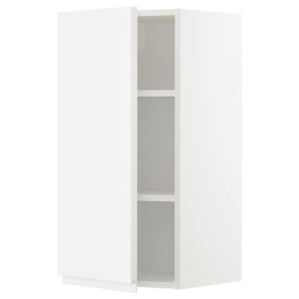 METOD Vægskab med hylder, hvid/Voxtorp højglans/hvid, 40x80 cm