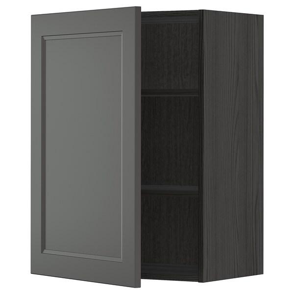 METOD Vægskab med hylder, sort/Axstad mørkegrå, 60x80 cm