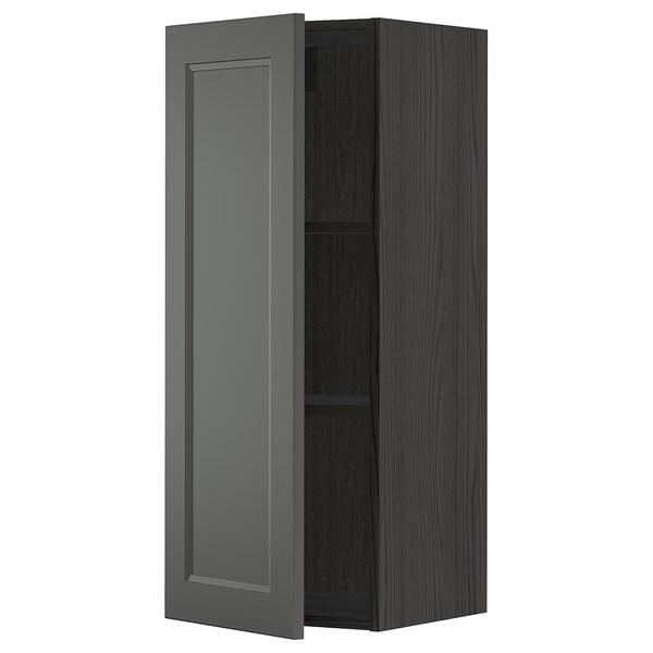 METOD Vægskab med hylder, sort/Axstad mørkegrå, 40x100 cm