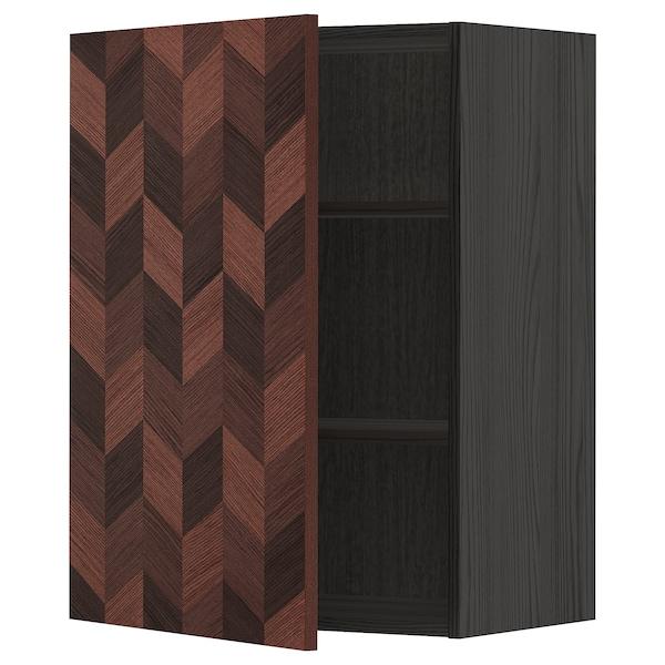 METOD Vægskab med hylder, sort Hasslarp/brun mønstret, 60x80 cm