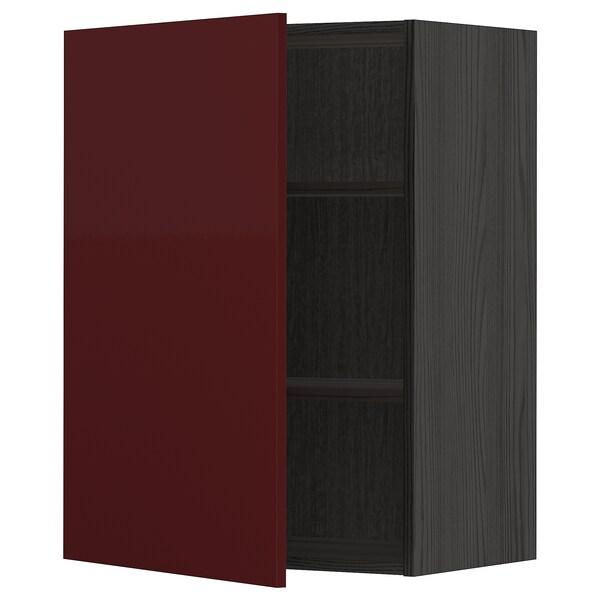 METOD Vægskab med hylder, sort Kallarp/højglans mørk rødbrun, 60x80 cm