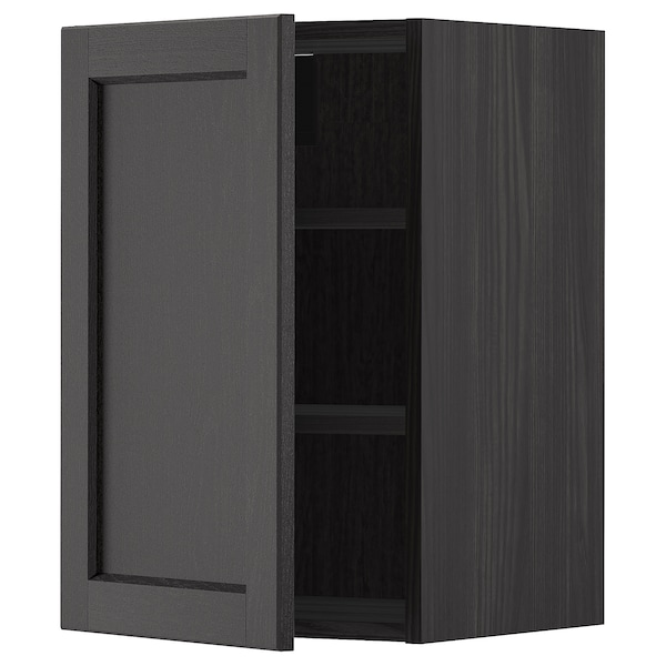 METOD Vægskab med hylder, sort/Lerhyttan sort bejdse, 40x60 cm