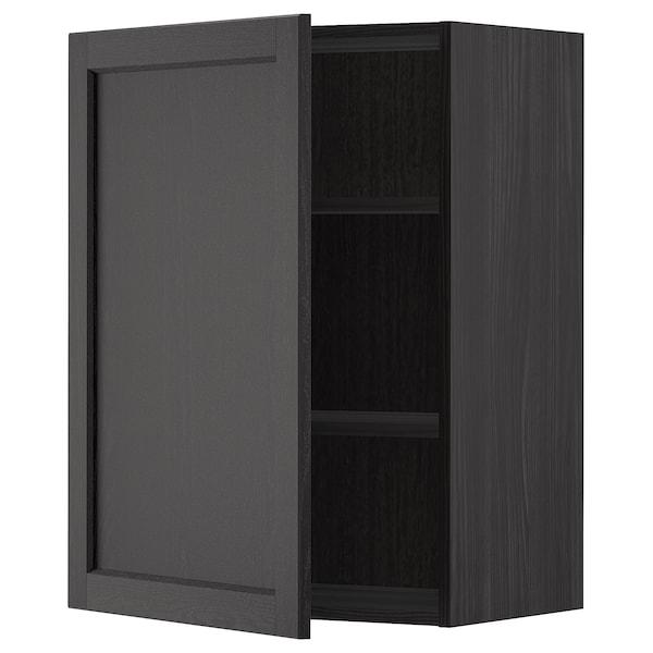 METOD Vægskab med hylder, sort/Lerhyttan sort bejdse, 60x80 cm