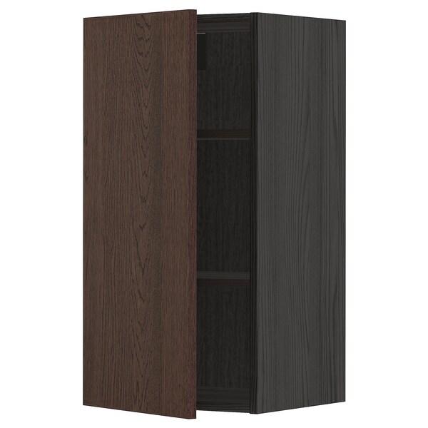 METOD Vægskab med hylder, sort/Sinarp brun, 40x80 cm