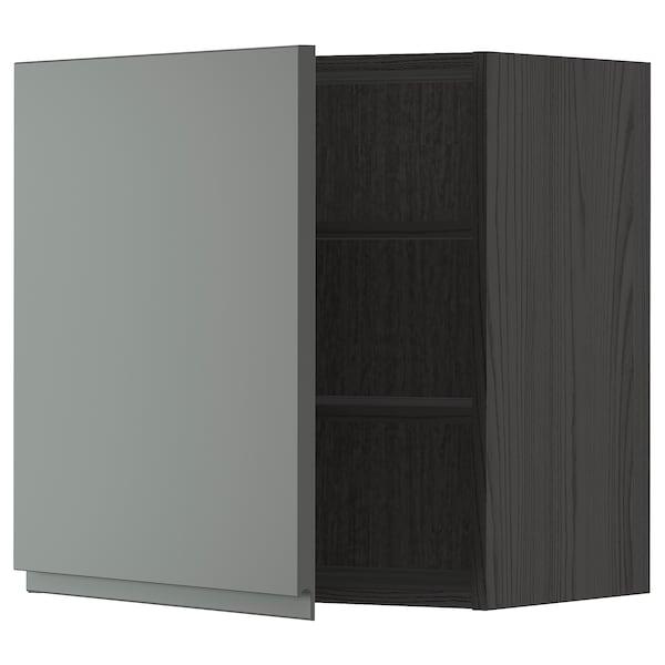 METOD Vægskab med hylder, sort/Voxtorp mørkegrå, 60x60 cm