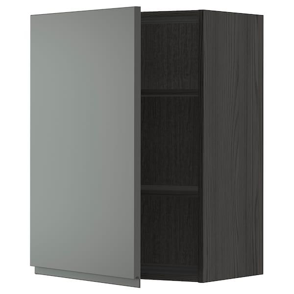 METOD Vægskab med hylder, sort/Voxtorp mørkegrå, 60x80 cm