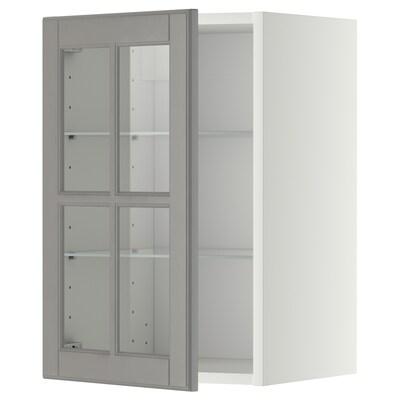 METOD Vægskab med hylder/vitrinlåge, hvid/Bodbyn grå, 40x60 cm