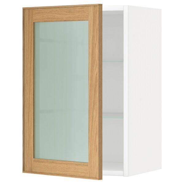 METOD Vægskab med hylder/vitrinlåge, hvid/Ekestad eg, 40x60 cm