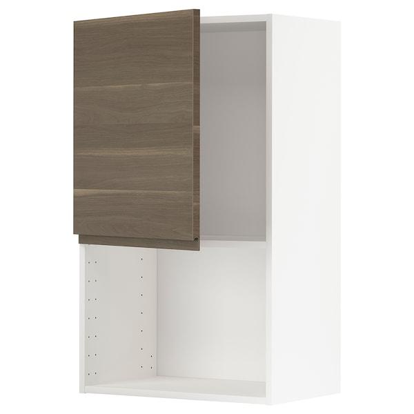 METOD Vægskab til mikroovn, hvid/Voxtorp valnøddetræsmønstret, 60x100 cm