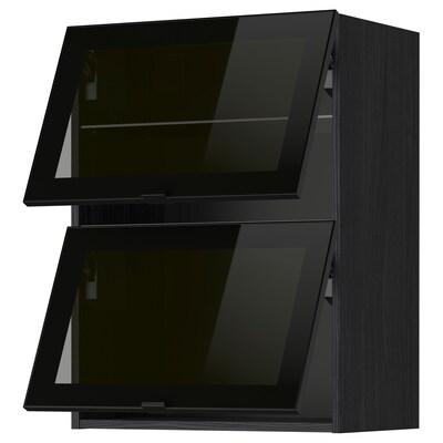 METOD horisontalt vægskab 2 vitrinelåger sort/Jutis røgfarvet glas 60.0 cm 38.8 cm 80.0 cm