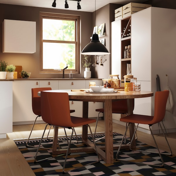 MÖRBYLÅNGA Bord, egetræsfiner brun bejdse, 145 cm