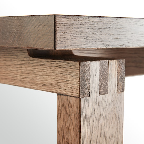 MÖRBYLÅNGA bord egetræsfiner brun bejdse 140 cm 85 cm 75 cm