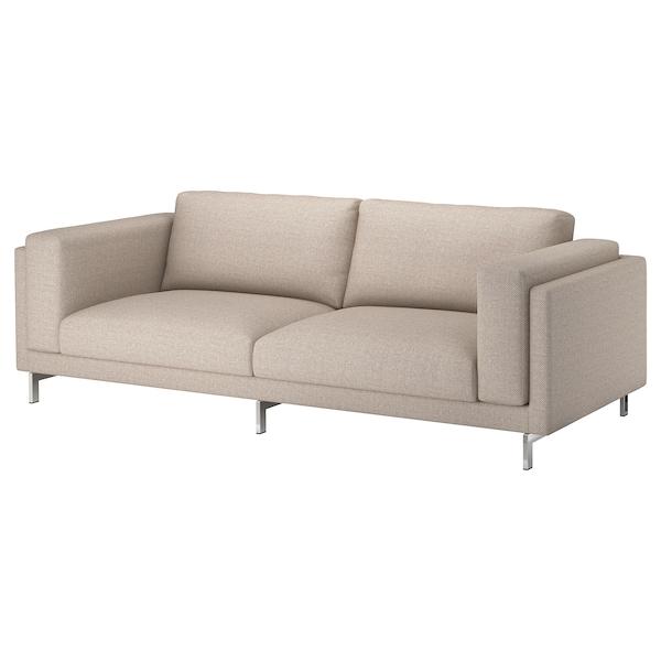 NOCKEBY 3-pers. sofa, Lejde mørkbeige/forkromet