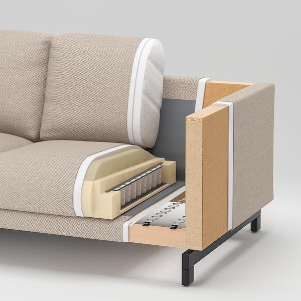 NOCKEBY 3-pers. sofa, med chaiselong, venstre/Lejde mørk beige/forkromet