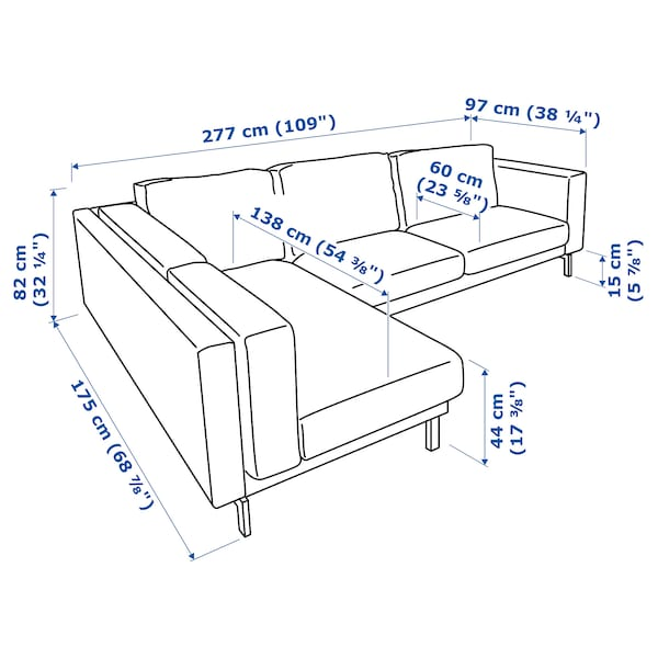 NOCKEBY 3-pers. sofa, med chaiselong, venstre/Lejde mørkegrå/forkromet