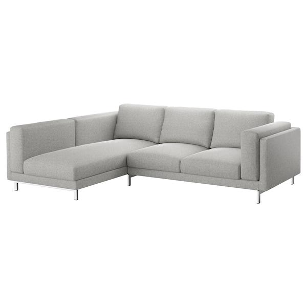 NOCKEBY 3-pers. sofa, med chaiselong, venstre/Tallmyra hvid/sort/forkromet