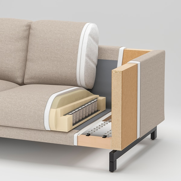 NOCKEBY 3-pers. sofa, med chaiselong, venstre/Tallmyra rustfarvet/forkromet