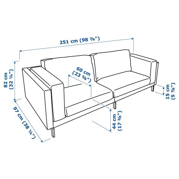 NOCKEBY 3-pers. sofa, Tallmyra rustbrun/forkromet