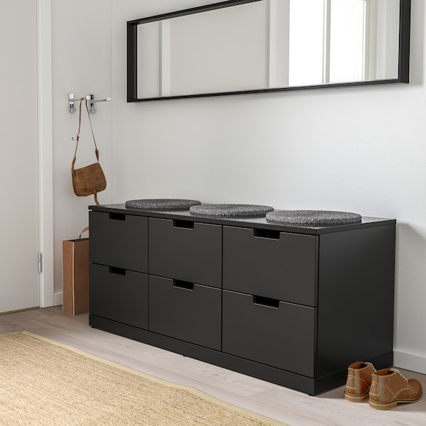 NORDLI Kommode 6 skuffer, antracit, 120x54 cm