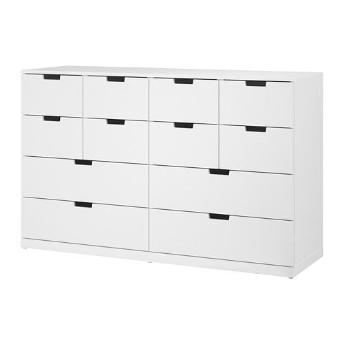 nordli kommode med 12 skuffer hvid ikea. Black Bedroom Furniture Sets. Home Design Ideas