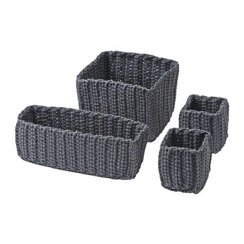kurve til badeværelse NORDRANA Kurv, sæt med 4   grå   IKEA kurve til badeværelse