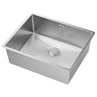 NORRSJÖN Indbygningsvask, enkelt, rustfrit stål, 54x44 cm