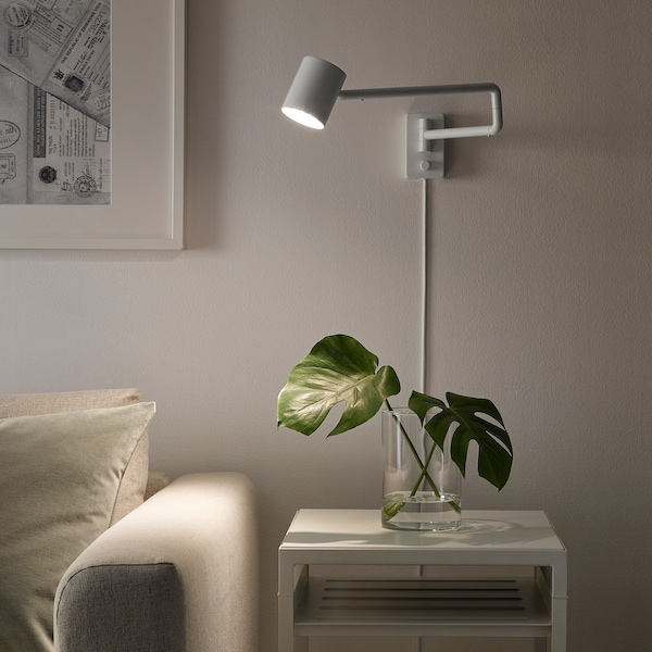 NYMÅNE Væglampe svingarm, hvid
