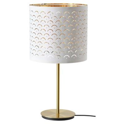 NYMÖ / SKAFTET Bordlampe, hvid messing/messing, 24x30 cm