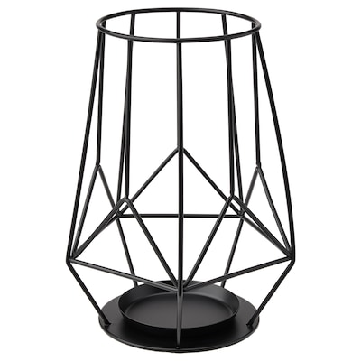 PÄRLBAND Lysestage til bloklys, sort, 21 cm